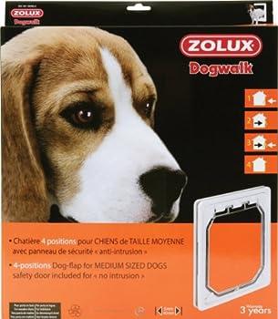 Chatière pour chien Dogwalk blanche 4 positions pour porte en bois bois/ZOLUX.
