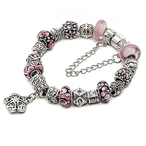 RUBYCA Silver Tone European Charm Bracelet 9 Pink Murano Glass Beads DIY Jewelry Making Kit 22 by RUBYCA