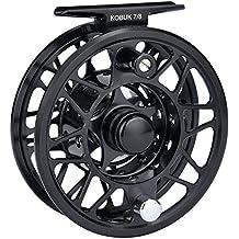 KastKing Kobuk carrete de la pesca de la mosca con el cenador grande, mecanizado CNC T6061 cuerpo de la aleación de aluminio y carrete en carrete de la mosca clasifica 3/4, 5/6, 7/8, 9/10 - peso ligero con todo increíblemente fuerte (Black, Kobuk-5/6 Reel)