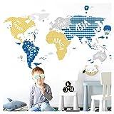 Little Deco Muurtattoo XXL wereldkaart dieren grijs blauw geel II Muursticker Meisjes Muursticker Jongens Kinderkamer Kinderen DL129
