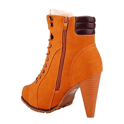 Damen Stiefeletten Stiefel Schnür Biker Boots Gefüttert Schuhe Camel