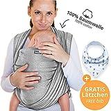 Écharpe de portage 100% coton - gris clair - porte-bébé de haute qualité pour nouveau-nés et bébés jusqu'à 15 kg - incl. sac de rangement et bavoir bébé OFFERTS - design adorable de Makimaja®