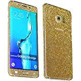 Heartly Sparking Bling Glitter Crystal Diamond Protective Film Whole Body Phone Skin Sticker For Samsung Galaxy S7 - Champagne Gold