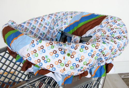 Caden Lane Caden Lane Boutique Collection Diagonal Stripe Shopping Cart Cover, Blue