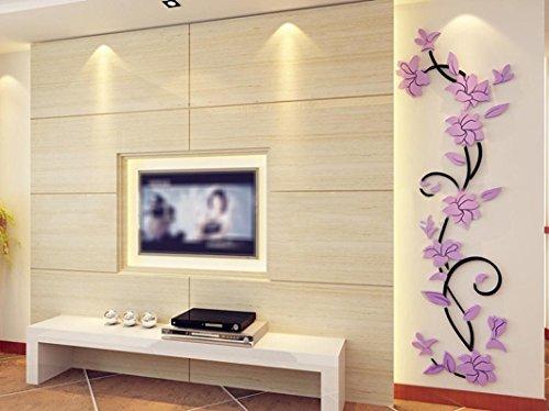 Timogee DIY 3D Acryl Kristall Wandaufkleber Wohnzimmer Schlafzimmer TV Hintergrund Wandaufkleber Aufkleber Home Decoration 24 * 80cm Wandtattoos (Lila)