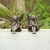 garden mile Set von 2 Gartenfeen Ornament Statuen - Miniatur-Statuen für Feengarten, Fliegende Pixie Steingarten, Gartendekoration und Teich