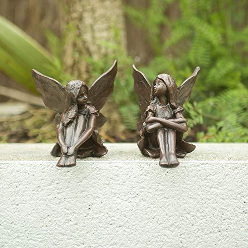 garden mile® Set von 2 Gartenfeen Ornament Statuen - Miniatur-Statuen für Feengarten, Fliegende Pixie Steingarten, Gartendekoration und Teich (Statuen, Von Set Garten, 2)