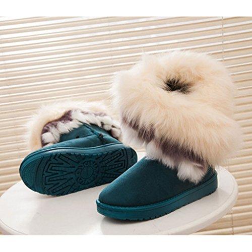 SGoodshoes Femme Bottes De Neige Hiver Cheville Bottes fourrées Chaudes Chaussures Antidérapage Vert