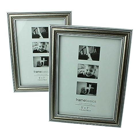 2er Set stilvolle Qualitäts-Design Foto-Rahmen in altsilber für Ihre Bilder, 13 x 18 cm, silber, antik-silber, tolle Wand-Dekoration, Bilderrahmen mit Passepartout, Fotos, Galerie, Fotorahmen mit Fuß, Rahmenbreite 2