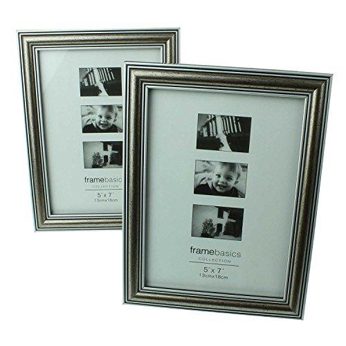 2er Set stilvolle Qualitäts-Design Foto-Rahmen in altsilber für Ihre Bilder, 13 x 18 cm, silber,...