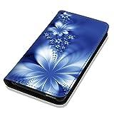 Hülle Galaxy J1 2016 Hülle Samsung J1 J120 Schutzhülle Handyhülle Flip Cover Case Samsung Galaxy J1 2016 J120 (OM1020 Abstract Blume Blau)