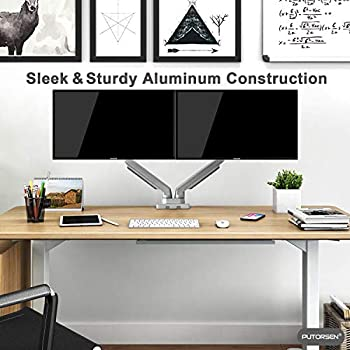 PUTORSEN® Premium PC Dual Monitor Arm Stand Desk Mount Bracket(Mechanical Powered) with Height Adjustable Full Motion Double Arm Desktop Clamp Mount for 17