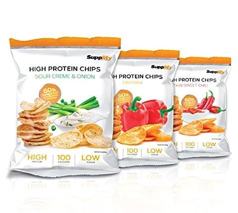 High Protein Chips - Eiweiß Fitness Snack Von Supplify - Mixed 6x50g Whey Proteinpulver- Riegel-Ersatz in 3 Versch. Geschmacksrichtungen - Nasche Guten Gewissens, Mit 100% GELD-ZURÜCK-GENUSS-GARANTIE!