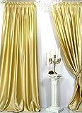 Trendoro Vorhänge, 1 Satin-Vorhang *Gold* der Marke Maße: 150 x 260 cm. Schwerer hochwertiger Satin, wirkt sehr edel, ist pflegeleicht & Blickdicht. Ateliergefertigt