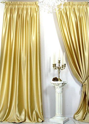 Trendoro Vorhänge, 1 Satin-Vorhang *Gold* der Marke Maße: 150 x 260 cm. Schwerer hochwertiger...