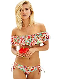 31a5831c056a Bikini Damen Set Bademode Push Up Triangle Rüschen Bikini Bandeau Schöne  Bikinis Blumen übergröße Bademoden Gepolstert Badeanzug…