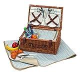 Picknickkorb für 4 Personen mit Kühlfach und Picknickdecke