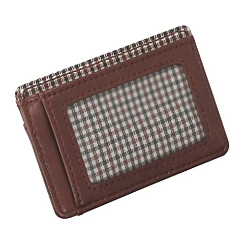 JACOB JONES Tan ID Card Case with Brown Checker Cotton Lining
