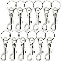COM-FOUR® 12x mosquetón de llave con eslabón giratorio y llavero, 7,5 cm (12 piezas - 7,5 cm con llavero)