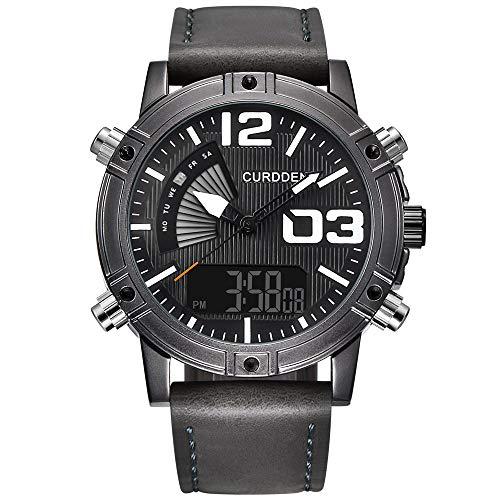 LABIUO Mode Multifunktions wasserdichte Uhr Einfache Edelstahlgehäuse Digitale Zeiger Militäruhr(D,Freie Größe)