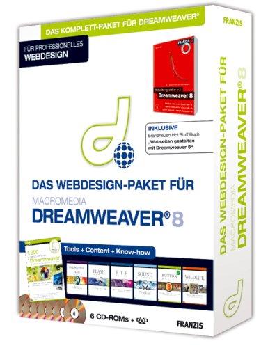 Webdesign-Paket für Macromedia Dreamweaver 8. 6 CD-ROMs, 1 DVD.
