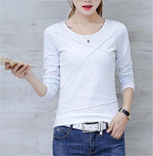 AILIENT Donna Camicia Elegante Manica Lunga Rotondo Collo Camicetta Camicie Puro Colore Slim Maglietta Moda T-Shirt Eleganti Top White