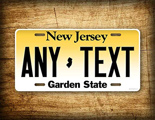Fhdang Decor Personalisiertes New Jersey Nummernschild Custom State Auto Tag 6x12 NJ Garden State Aluminium Schild
