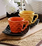 Unravel India Ceramic Multicolored Diamond Cup Saucer Set(Set Of 6)