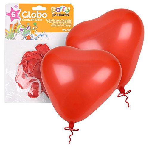 Party - Pack 6 globos, corazón rojo, 25 cm (68412)