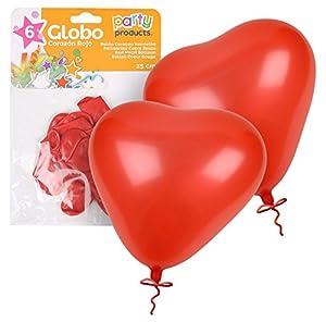 Party- Pack 6 globos, corazón rojo, 25 cm (68412)