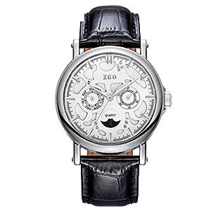 Correa de cuero de calidad rose gold reloj de cuarzo de luna/Blu-ray doble calendario medio tercer ojo reloj-S de ZHANG Maid