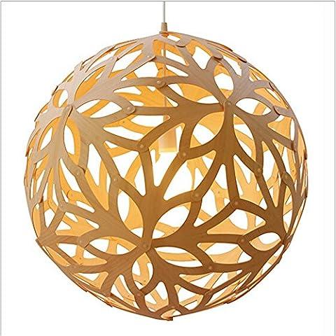 GZEDG Rustikale Holzleuchter kreative Restaurant Schlafzimmer modernen Wohnzimmerlampe Hohlkugel Schnee
