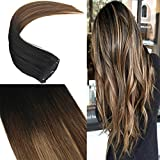 YoungSee 7pcs/120g 100% Echthaar Extensions Clip in Schwarz mit Braun zu Blonde Balayage Extensions Echthaar Clip in Remy Haare 16zoll