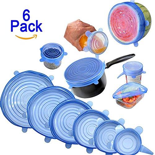Nifogo Silikon Deckel, Stretch-Deckel aus Silikon, dehn- & Wiederverwendbar, Frucht Lebensmittel Frische Deckung Saver Covers, 6 Stück in Verschiedenen Größen (Blau)
