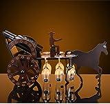 BWLZSP portabottiglie in legno massello decorazione soggiorno telaio portabottiglie vino alto vetro appeso cremagliera del vino decorazione della casa WL5081451 (Color : Contains glasse cup)