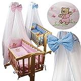 8 tlg. Baby Ausstattung Set für Schaukelwiege Wiege Babywiege Wiege-Garnitur Bettset Beistellbett (Rosa mit Bärchen)