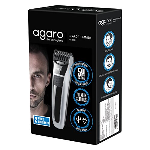 Agaro-MT-5001-Cordless-Beard-Trimmer-with-USB-Charger-Gray
