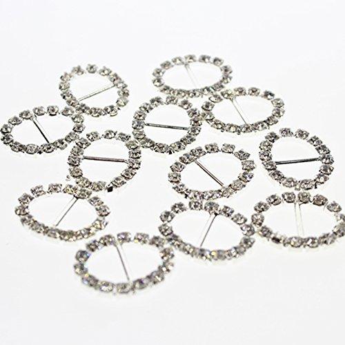 F Fityle 30 Diamante Silver Ribbon Buckle Sliders Gift Matrimonio Invitation Card Making