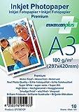 EtikettenPlus Ltd, 10 Blatt, Premium Fotopapier, EF318010P, A3 (297x420 mm) 180g/qm hoch-glänzend (high-glossy), wasserfest, sofort wischfest für alle Tinten- und Fotodrucker