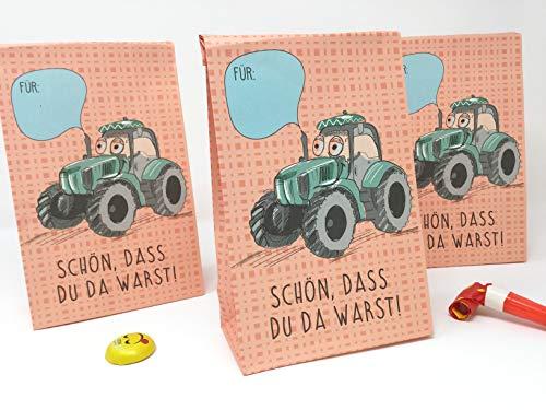 8 Stück Mitgebseltüten - Papiertüten - Geschenktüten zum Verpacken von Geschenken, Giveaways, Gastgeschenke zum Kindergeburtstag Traktor, Bauernhof