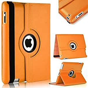 TGK® 360 Degree Rotating Leather Smart Case Cover Stand (Auto Sleep/Wake Function) for Apple iPad 2, iPad 3, iPad 4 (A1458, A1459, A1460, A1416, A1430, A1403, A1395, A1396, A1397) - Orange