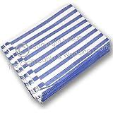 100 Bolsas de Papel con Rayas Azules para Caramelos Dulces Alimentos de Tiendas de Regalos Fiestas de 125mm x 175mm