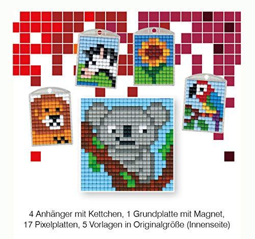 Pracht Creatives Hobby P90031-63501 - Pixel Spaß Bastelset, 13, für 4 Medaillons, Schlüsselanhänger, für Kinder, Jungen und Mädchen, ideal als kleines Geschenk, Mitgebsel, für den Kindergeburtstag