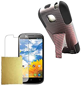 Maxtron Hybrid Armor Protector Phone Cover Stand Case for BLU Studio II 5.3 D550A - Non-Retail Packaging - Red Carbon Fiber