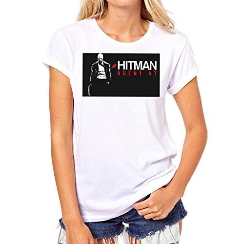 Hitman Absolution Art Agent 47 Killer Hes Is Cmoing Background Damen TShirt  Weiß