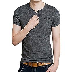 Tefamore Camiseta de manga corta para hombre Ajustado Cuello V Ocasionales (Tamaño:XXL, gris)