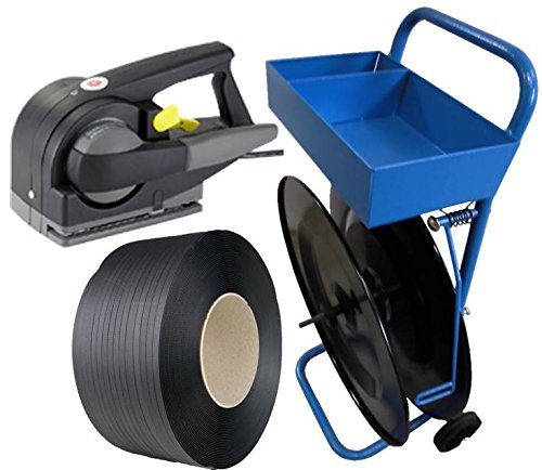 PP-Umreifungsband Set-Angebot 16 mm, halbautomatisch und Abrollwagen - Bündelset - halbautomatisches Umreifungsgerät