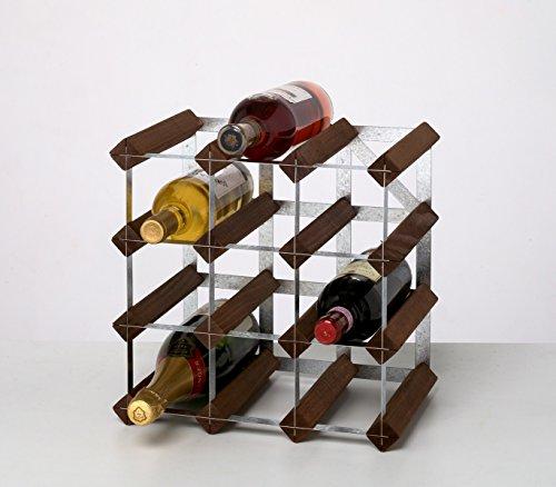 Rta From Samuel Groves Weinregal für 12 Flaschen, 3 x 3 Fächer, gebeizter Kiefer/verzinkter Stahl