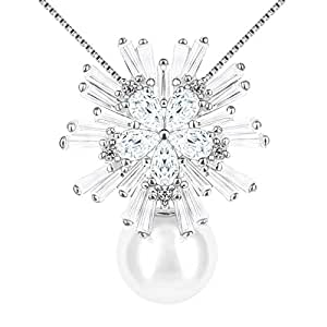 "J.Rosée Collana ""Neve con perla"" Argento sterling 925 Zircon con un grande diamante Buon regalo per amore"