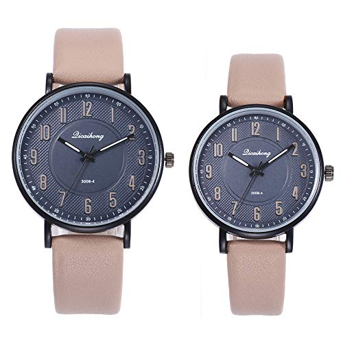 gaddrt Uhren, 2PCS Paare Arbeiten Leder-Band-analoge Quarz-Runde Armbanduhr-Uhren um (Khaki)